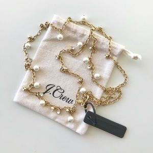 J. Crew Long crystal-and-pearl necklace